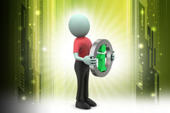 Information icon with man. In color background Royalty Free Stock Photo
