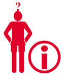 Information icons. Stick man with question mark and information icon on white background Stock Images
