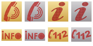Information icons. With metal texture Stock Photos