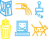 Information icons. Set of bold line icons illustrating communication concepts Royalty Free Stock Photos