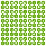 100 information icons hexagon green. 100 information icons set in green hexagon isolated vector illustration Stock Image