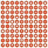 100 information icons hexagon orange. 100 information icons set in orange hexagon isolated vector illustration Vector Illustration