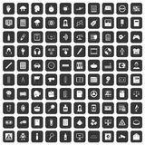 100 information icons set black. 100 information icons set in black color isolated vector illustration Royalty Free Stock Images
