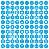 100 information icons set blue. 100 information icons set in blue hexagon isolated vector illustration Royalty Free Stock Photos