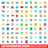 100 information icons set, cartoon style. 100 information icons set in cartoon style for any design vector illustration Royalty Free Stock Images