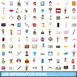 100 information icons set, cartoon style. 100 information icons set in cartoon style for any design vector illustration royalty free illustration