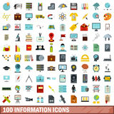 100 information icons set, flat style Royalty Free Stock Images