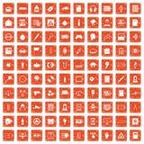 100 information icons set grunge orange. 100 information icons set in grunge style orange color isolated on white background vector illustration stock illustration