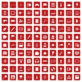 100 information icons set grunge red. 100 information icons set in grunge style red color isolated on white background vector illustration Stock Images