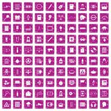 100 information icons set grunge pink. 100 information icons set in grunge style pink color isolated on white background vector illustration Royalty Free Stock Image
