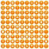 100 information icons set orange. 100 information icons set in orange circle isolated on white vector illustration Stock Photos