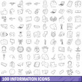 100 information icons set, outline style. 100 information icons set in outline style for any design vector illustration Royalty Free Stock Image