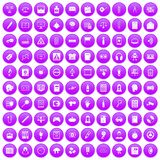 100 information icons set purple. 100 information icons set in purple circle isolated on white vector illustration Royalty Free Stock Photo