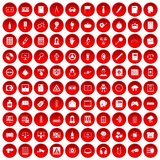 100 information icons set red. 100 information icons set in red circle isolated on white vector illustration Royalty Free Stock Photography