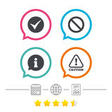 Information icons. Stop prohibition symbol. Information icons. Stop prohibition and attention caution signs. Approved check mark symbol. Calendar, internet Stock Images