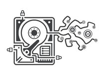 Information leakage. Illustration figuratively showing a breach in data security system as a hard drive with information leaking from it Stock Photo