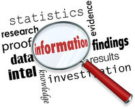 Information Magnifying Glass Searching Facts Data Research. Information word under a magnifying glass searching for facts, data, research, fndings, statistics Stock Images