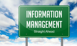 Information Management on Highway Signpost. Highway Signpost with Information Management wording on Sky Background stock image