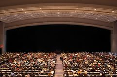 Information for the mass. Large crowd at a seminar Royalty Free Stock Photo