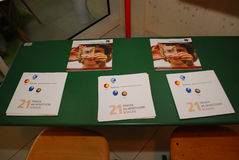 Information materials on Montessori system lie on a desk. Informatio materials about  the Montessori system lie on a desk during opening day of the Montessori Royalty Free Stock Photos