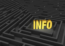 Information Maze. A bright, gold INFO stands at the center of a dark maze Royalty Free Stock Photo