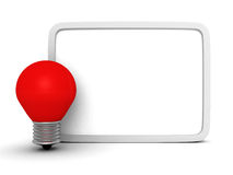Information message banner with red light bulb Stock Photography