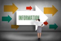 Information mot att peka för pilar Arkivfoto