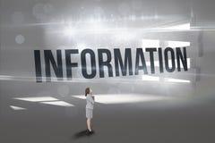 Information mot digitalt frambragt rum med gränsat upp fönster fotografering för bildbyråer