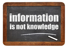 Information is not knowledge quote Royalty Free Stock Image