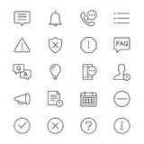Information and notification thin icons. Simple, Clear and sharp. Easy to resize Stock Image