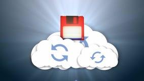 Information och molnet Moln-baserad massmedialagring Säkra online-lagring stock illustrationer