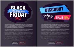 Information 2017 om affischer för Black Friday stor Sale Promorengöringsduk royaltyfri illustrationer