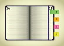 Information om anteckningsbok för Violet öppen Arkivbilder