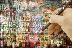 Information om byggnad som modellerar BIM - en ny väg av att planlägga royaltyfria foton