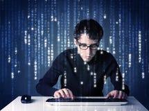 Information om en hackeravkodning från futuristisk nätverksteknologi Royaltyfria Bilder