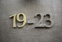 Information om nummer nitton royaltyfria bilder