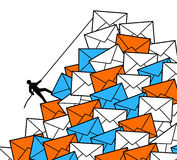 Information overload. By receiving too much work, e-mails and letters Royalty Free Stock Photo