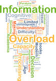 Information overload background concept. Background concept wordcloud illustration of information overload Stock Images