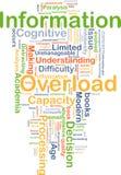 Information overload background concept. Background concept wordcloud illustration of information overload Stock Images