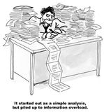 Information Overload. The cartoon shows a businessman at his desk with stacks and stacks of paperwork trying to do an analysis that has led to information Royalty Free Stock Images