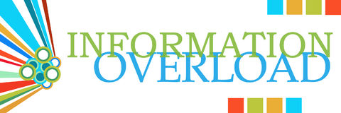 Information Overload Colorful Graphics Horizontal. Information overload text written over colorful background Stock Photos
