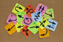 Information overload concept. Information overload or guidance confusion concept - different arrows on colorful sticky noted posted on cork bulletin board Royalty Free Stock Photo