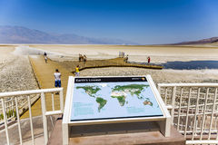 Information panel at Badwater Basin, the deepest point in North America Royalty Free Stock Photography