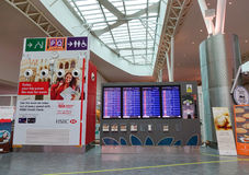 Information panels at KLIA airport, Malaysia Stock Photography