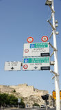 Information panels on a road in Marseille Stock Photos