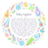 Information placard concept with baby hygiene accessories and sample text. Flat style vector illustration stock illustration