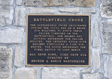 Information plaque for Battlefield Cross Statue at the Veteran`s Memorial Park, Ennis, Texas royalty free stock photo