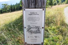 Information plaque somewhere in the Alps. Switzerland. Walking in the Alps you can find lots of pointers stock image