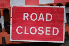 Information plate on the closure of the road. At the road repair service stock photo