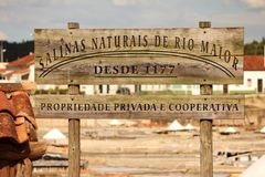 Information plate  of a salt miner. A information plate  of a salt miner  from a tradicional mine located in Rio Maior - Portugal Stock Photo